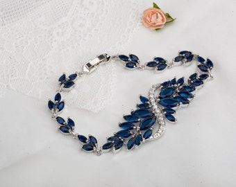 Sapphire Blue cubic zirconia bridal bracelet, something blue, art deco bracelet, CZ blue wedding bracelet, Bridal jewelry, Bride jewellery