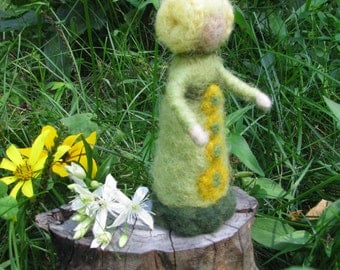 Needle felted Spring Flower Girl. Needle felted wool doll, Waldorf inspired, Art doll.