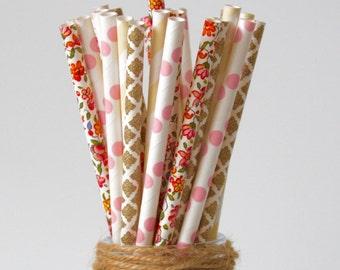 Paper Straw Mix, Flower Straws, Cream Straws, Pastel Pink Straws, Gold Straws - Birthday, Garden Party & Showers, Decor Straws