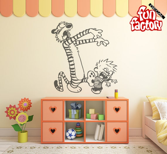 Items similar to calvin hobbes zombie wall decal kids for Calvin and hobbes nursery mural