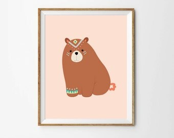 Tribal bear print, 5 x 7 in, 8 x 10 in, Nursery print, Baby wall art, Toddler print, Nursery decor, Printable