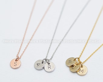 Custom Initial Disc Necklace/ Hand Stamped Letter Necklace, Rose, Gold Coin Tag, Personalized Name Necklace, Teen Aunt Grandma Mommy Gift 05