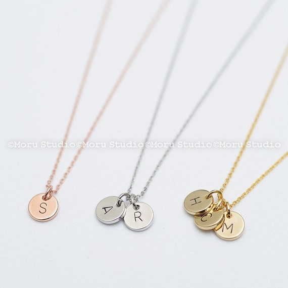 Custom initial disc necklace hand stamped letter necklace for Custom letter necklace gold