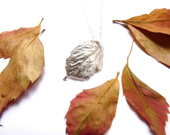 Fine silver leaf pendant, silver leaf pendant, silver leaf necklace, silver leaf jewellery, fine silver jewellery, gift for her
