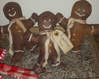 handmade primitive gingerbread men ornies, tucks, bowl fillers, prim tree ornaments, OFG, FAAP, Christmas decorations, prim decor,