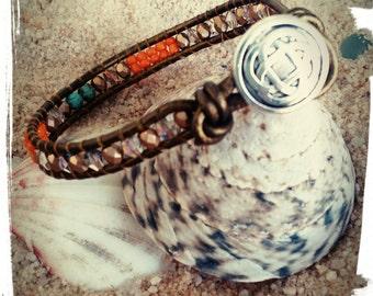 Dublin - Beaded Leather Wrap/Celtic Knot - Single Wrap Around Bracelet in Turquoise/Ocean Blue/Beige Luster & Caramel Picasso Czech Beads