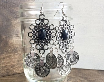 Chandelier Earrings Boho Earrings Silver and Black Dangle Earrings Statement Earrings Bohemian Earrings Tribal Earrings Long Earrings.