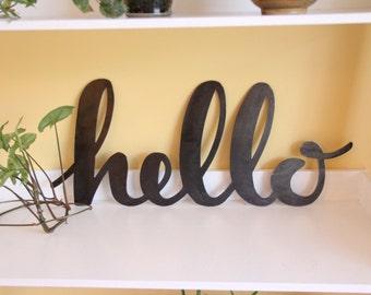 SALE!! Hello Modern Metal Farmhouse Sign |  rustic home decor wall art