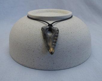 Handmade ceramic pendant with bronze effect glaze