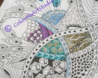 Zentangle Coloring Page Adult Printable Download 1 PDF File