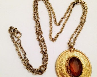Vintage Emmons faux Citrine Pendant and Chain