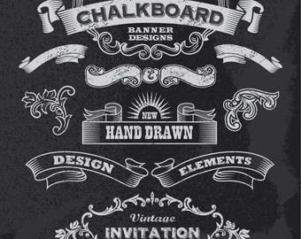 Instant Download Chalkboard Digital Flourish Border Frame Clip Art Scrapbooking Embellishment Frame Clipart Frame Decor Design Elements 0117