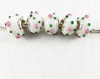 Set of 5 White Lampwork Beads, Rose European Beads, Large Hole Beads, European Charm Beads, European Bracelet, Jewelry Making, EB1270