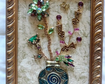 Vintage Framed Jewelry Art, Home Decor, Family Heirloom Art,OOAK Unique, Home Accessories, Art Collectibles, Gifts, Art Made With Jewelry