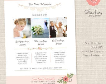 Photography Pricing List, Price List Template, Photoshop Template, Wedding Pricing Template, Wedding Price List, Floral Pricing Guide, Lace