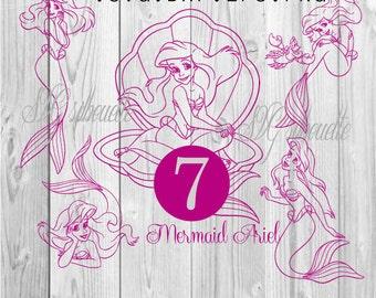 Mermaid Ariel  7 SVG  Cutting files, heat transfer vinyl desin, png, svg,  eps, dxf files for Silhouette, Cricut Vinyl #3