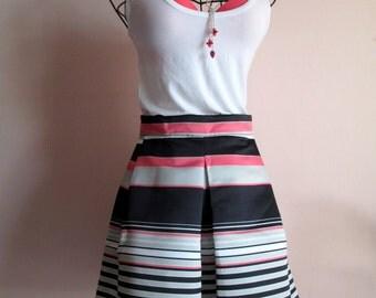 Pink black white striped balloon skirt