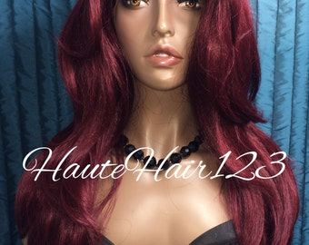 Burgundy Straight Human Hair Blend Layered Lace Front Wig