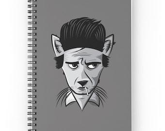 Cat Journal - Johnny Cash Journal - Cartoon Notebook - Cat Notebook - Spiral Notebook - Spiral Journal - Johnny Cash - Cat Notepad Grey