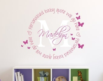 Girls Wall Art – Monogram Name Wall Decal – Personalized Girls Name and Quote Wall Decal - Girls Name Stickers