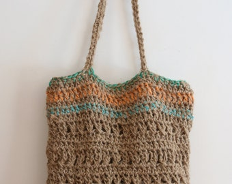 Orange handmade Jute twine and cotton crochet tote.  Ladies handbag, shoulder bag or shopping bag