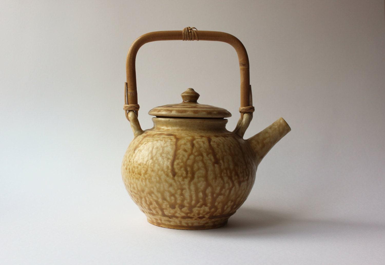 Rustic yellow brown handmade ceramic teapot with bamboo handle - Bamboo teapot handles ...