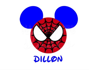 Personalized Spider Man Mickey Mouse Classic Super Hero Matching Family Husband Dad Son Boy Grandpa Disney Iron On Decal Vinyl for Shirt 066