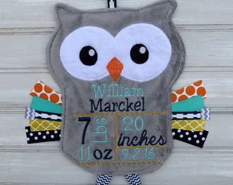 Personalized baby gifts owl etsy personalized baby birth info gray snuggle owl baby keepsake birth stats negle Choice Image