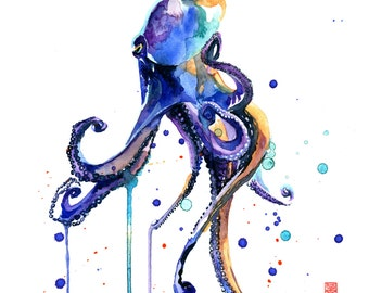 Octopus Watercolor Painting Fine Art Giclee Print / Marine animal painting / Ocean wildlife painting