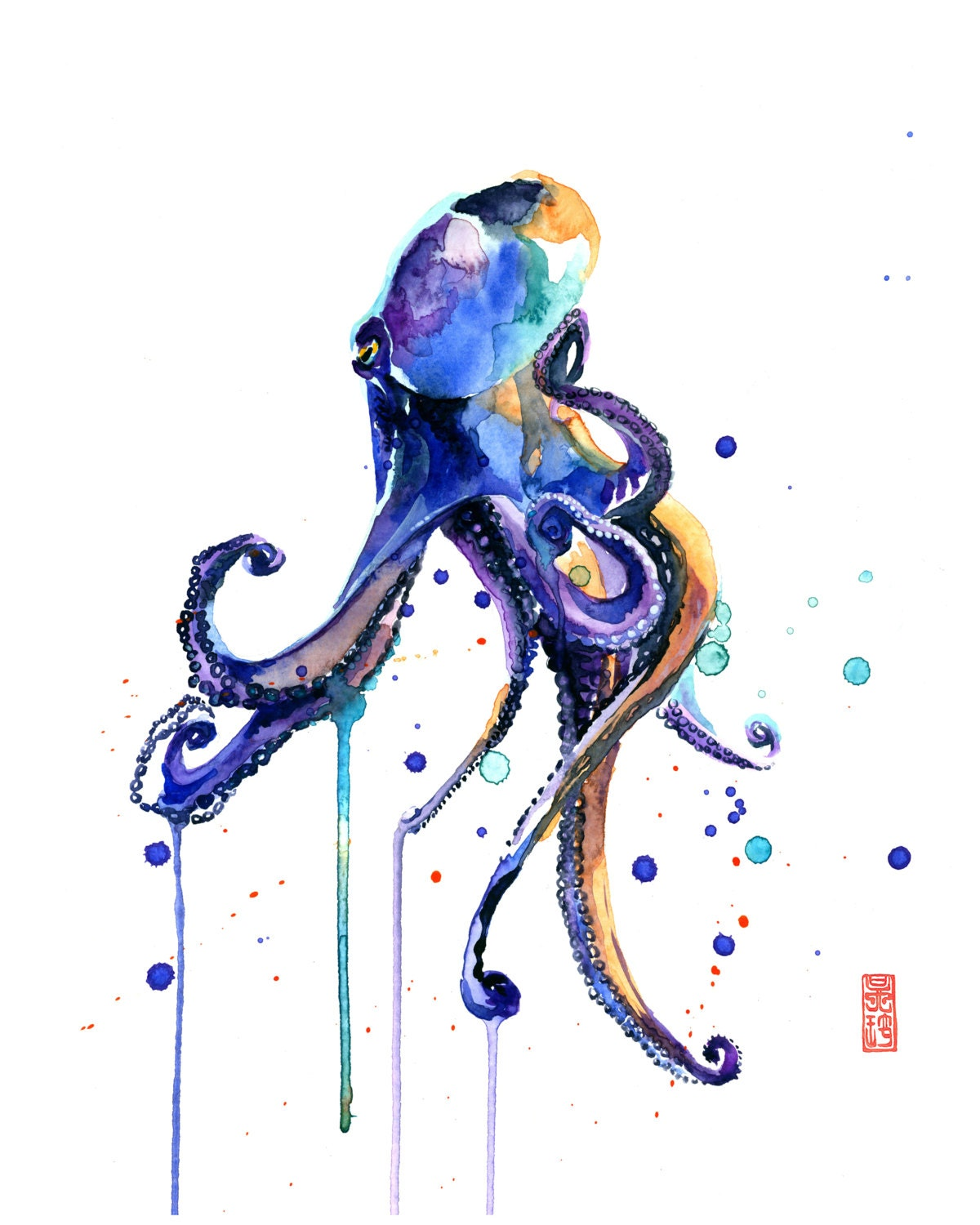 Octopus watercolor painting fine art giclee print marine for Colorful octopus painting