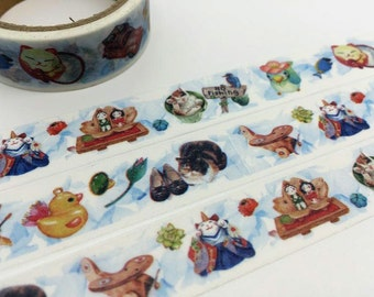 Japanese pet cat washi tape 5M x 1.5cm cute characters animal masking tape retro toy yellow little bird deco sticker tape gift wrapping