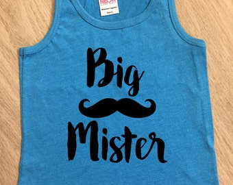 Big Brother mustache tank top - baby boy or girl tank - toddler tank - summer tank top