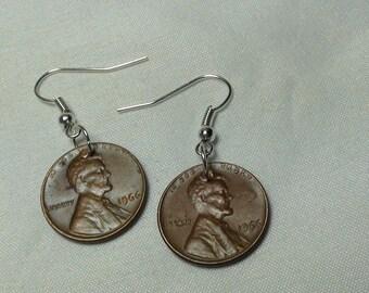 LUCKY PENNY Earrings, Lucky Penny, Dangle Earrings, Vintage Coins, Custom Earrings, Jewelry, Custom Jewelry, lucky, Coin Earrings, 1966