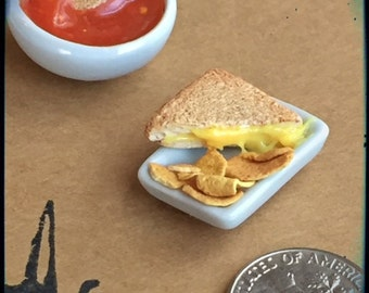 Polymer Minature Grilled Cheese and Tomato Soup 1:12 Scale