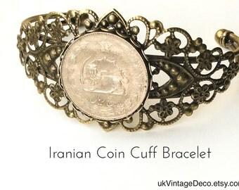 IRANIAN COIN Cuff BRACELET Iranian Coin Bracelet Iranian Coin Jewelry Iranian Costume Coin Jewlry World Coin Jewelry Iran Coin Jewlry