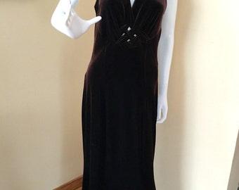 Vintage PIA Sleeveless Velvet Chocolate Brown Dress - Size Large