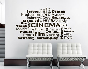 Wall Decal Cinema Vinyl Sticker Decals Movie Room Cinema Film Words Interior Home Decor Art Bedroom C634
