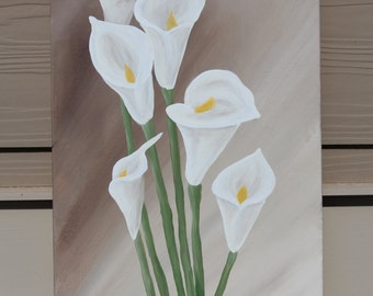 Calla Lilies on Tan : Original Acrylic Painting on Stretched Canvas, 12x24 inches