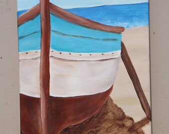 Brown & Blue Boat on the Beach: Original Acrylic Painting on Stretched Canvas, 5x7 inches