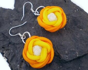 Rose Earrings, Knotted Rose Earrings, Macrame Rose Earrings, Turks Head Knot, Turkshead Knot (Gold, Yellow & White)