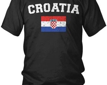 Distressed Bold Croatia Men's T-Shirt, Croatian, Republic of Croatia, Hrvatska, Country Flag Crest, Men's Croatia Shirts AMD_CRO_02