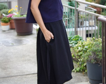 SALE Reece Midi Skirt - Midi length skirt with back elastic waist, side slits and Pockets  (White, Black, Navy and Pink) FINAL SALE