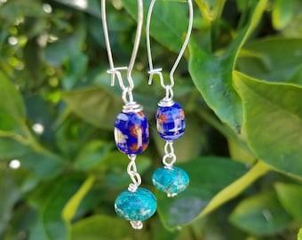 Murano glass bead and turquoise dangle earrings
