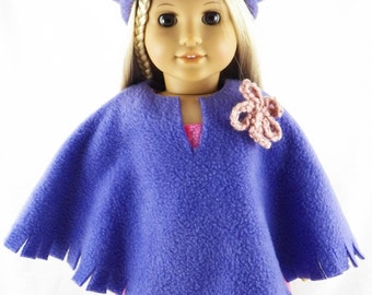"""18"""" Doll American Girl Poncho and Hat"""