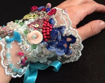 Handmade Ribbon and Bead Embroidered Cuff Bracelet