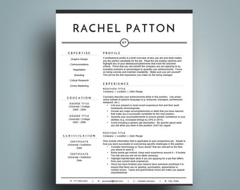 Modern Resume Template for Word ( 1 & 2 Page Resume, Cover Letter), A4 and US Letter | CV Template | Professional Resume | Instant Download