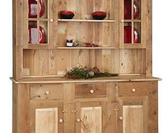 """Reclaimed Barn Wood Hutch/China Cabinet - Pine Wood - Upper Glass - Unfinished- 72""""Wx20.5""""Dx80""""H"""