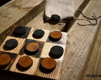 Wood tic tac toe game, board game, natural wooden game, rustic board game, table game, travel game, handmade, burned style