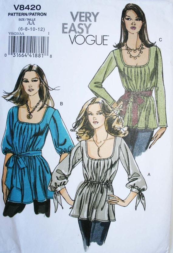 Nähen Muster Womens passende Tunika Spitze Vogue V8420 UNCUT
