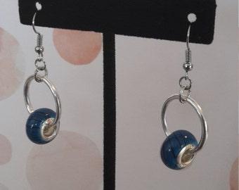 Turquoise & Black Swirl Earrings